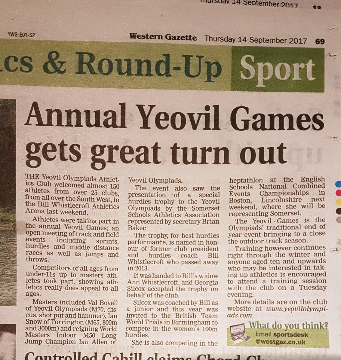 Yeovil Games 2017
